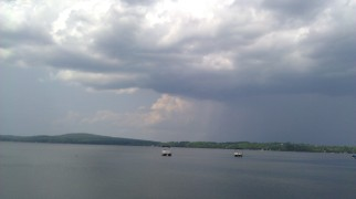 A storm is brewing over North Pond.